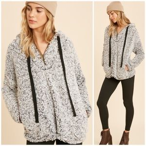 Black & White Cozy Sherpa Hooded Pullover Fleece